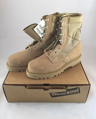 63adbc6b5b3 THOROGOOD HOT WEATHER Desert Tan, Steel Toe Boots, Military, Mens Size: 8W,  New!