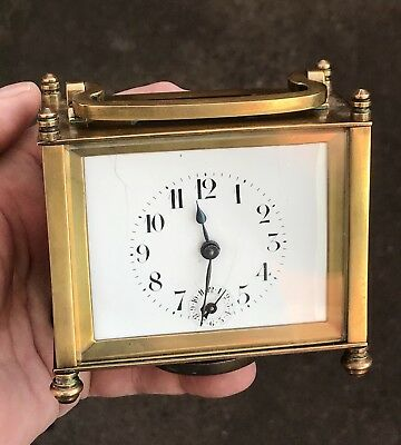 """UNUSUAL ANTIQUE FRENCH """"ALARM"""" BRASS CASED WORKING CARRIAGE CLOCK, CIRCA 1900s."""
