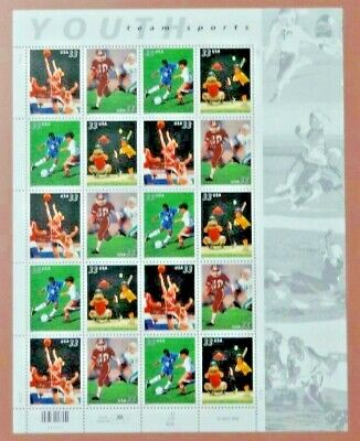 Scott #3402a Youth Team Sports Mint Sheet ( Face Value  $6.60 )