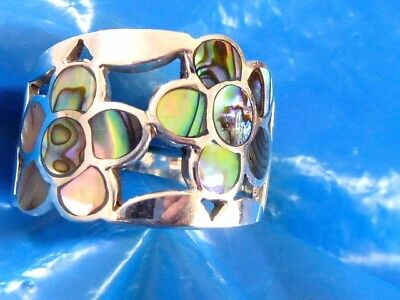 Vintage Sterling Silver Ladies Fine Abalone Shell Flower Design Ring Sz 10