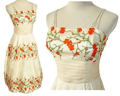 Vintage 60s Party Prom Dress Embroidered Floral Cherry Blossoms S XS