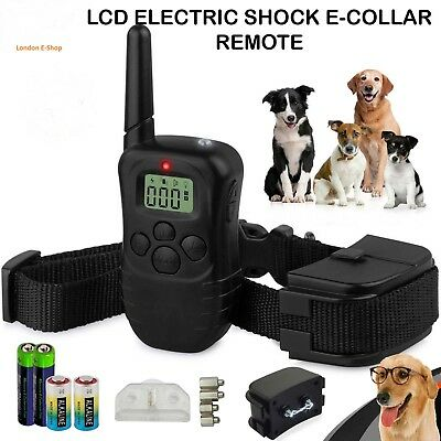 LCD Anti-Bark Electric Shock E-Collar Dog Training Remote Control -Batteries Inc
