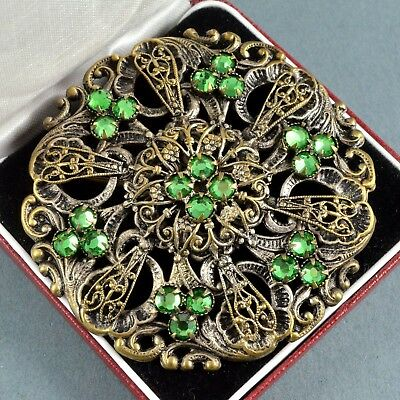Vintage Brooch Large 1920s Czech Art Deco Green Crystal Silver Plated Jewellery