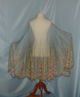 Antique Dress Shawl 1920 Embroidered Blue Net Lace Multi Colored Flowers