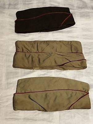 VINTAGE US MILITARY WWII KOREA KHAKI & BROWN UNIFORM GARRISON SIDE CAP LOT of 3