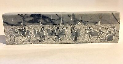 Marble Paperweight 6 Inch Ruler With Egyptian Hieroglyphs Medical Promotional
