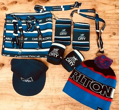 CARLTON DRY PROMO Gear  BEANIE+ COOLERS+ LANYARDS+BANDANAS+PH CARRIERS+HAT