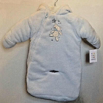 Infant Fleece Bunting, Size 3-6 Months, New With Tags, Light Blue Quilted Lining
