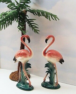 "Vintage Pair Art Deco Pink Ceramic Flamingo Figurines 10"" tall"