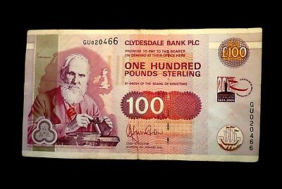 Clydesdale Bank (Scotland) (£100.00) One Hundred Pounds Note ~ Year 2001