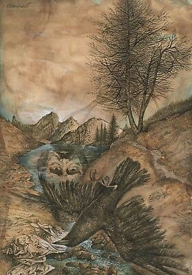 DIETRICH SCHUCHARDT - 2005 Ink and Watercolor Drawing - Der Rabe (The Raven)