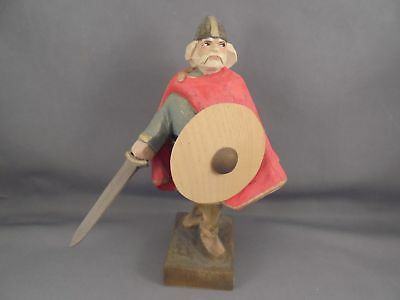 Henning Norway Hand Carved Wood Viking Figure Sword Shield Red Cape 6 1/4""
