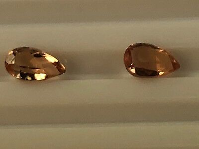 Precious Imperial Topaz - Pair - 0.96 Tct Faceted 2 Pcs Pear Clarity If I154