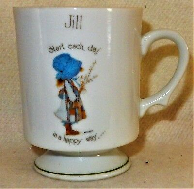 """HOLLY HOBBIE """" JILL """" Coffee MUG Cup c1975 As New """"Start the Day in a Happy Way"""""""