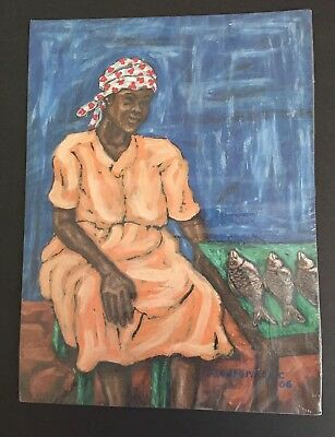 Original Signed Artist Black Americana African Woman Fish Painting on Paper