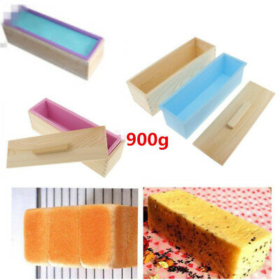 900g Rectangle Silicone Soap Loaf Mold Wooden Box DIY Cake Making Tools 1PC