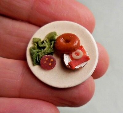 Dollhouse Miniature ~ Bagel & Lox On A Plate