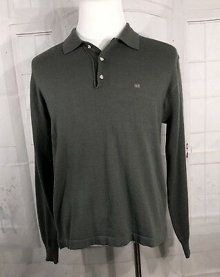 Vintage Christian Dior Mens Sweater Henley Acrylic Green Size X-Large