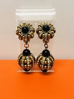 Collectible Vintage Gold Tone Crystal Long Earrings