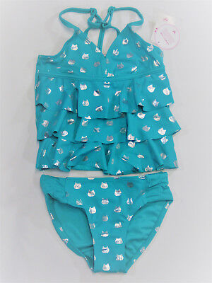 NWT Justice Girls Size 7 or 8 Teal Foil Kitty Cat Ruffle Tankini Bathing Suit