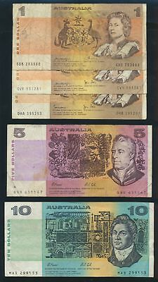 "Australia: 1972-91 COLLECTION of 10 DIFFERENT $1, $2, $5 & $10 incl ""C of A"""