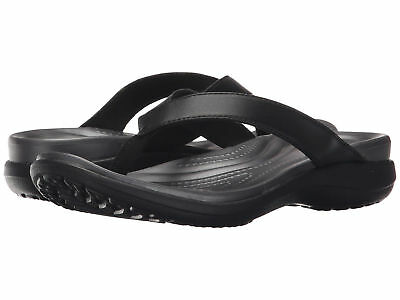 bd54cd23f2cf7 Women Crocs Capri V Flip Flop Sandal 202502-02S Black Graphite  100%Authentic New