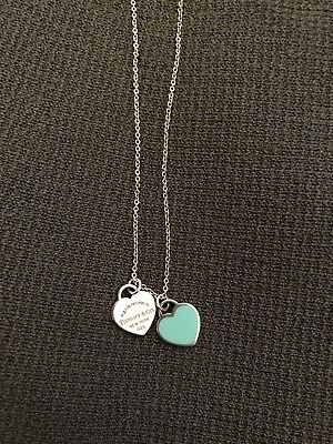Return to Tiffany Mini Double Heart Tag Necklace. Authentic, with receipt