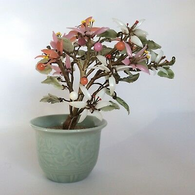 Beautiful Vintage Japanese Jade Glass Bonsai Cherry Blossom Tree In Pot Flowers
