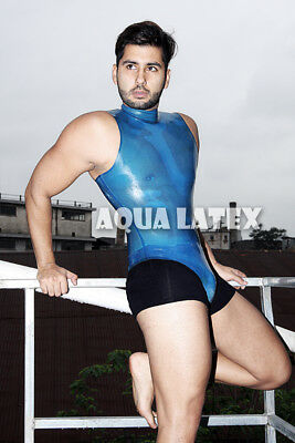 Men Leotard Style Bodysuit Turtle Neck Rubber Latex Catsuit Sleeveless Swim Suit