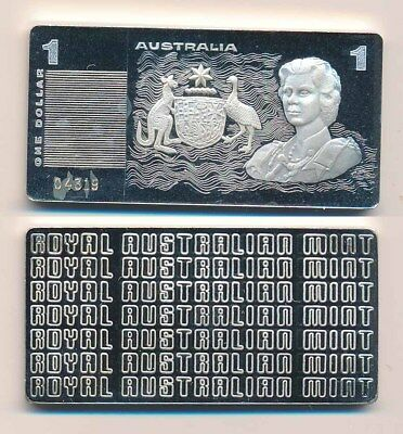 Australia: 1990 $1 QEII Banknote Masterpieces in Silver, 39.8g Stg Silver
