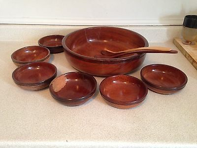 "Very Nice Hand Crafted Vintage 9 Piece Salad Bowl Set With Large 13.75"" Bowl"