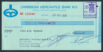 Netherlands Antilles: 1978 Caribbean Mercantile Bank. Old Cheque with DUTY STAMP