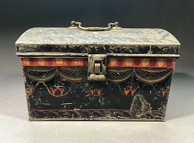19th Century Pennsylvania Tole Painted Tin Document Box
