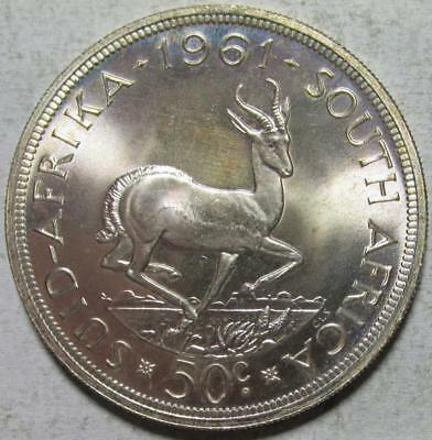 South Africa, 50 Cents, 1961, Gem Brilliant Uncirculated, .4546 Ounce Silver