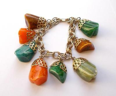 Vintage 1950's Brown Amber & Green Marbleized Lucite Chunky Charm Bead Bracelet