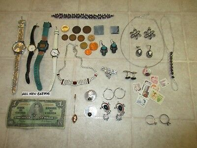 Vintage Junk Drawer Bc Jade Jewellery Watches Coins Rings 1937 Canada Bill Etc