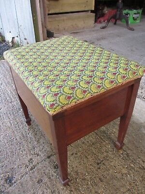 ref 577 Unusual Edwardian Mahogany Adjustable Piano Dressing Stool Elegant Shape