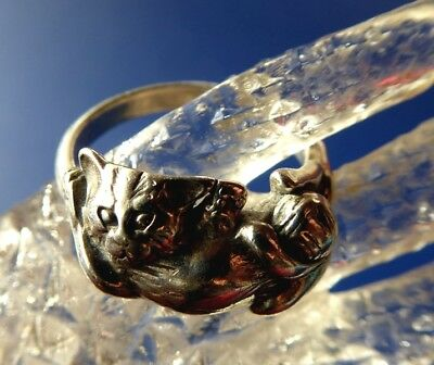 925 Silber Ring KATZE sig. © PS  STERLING CAT Peter Stone 58 /18,5 mm Ø / US 8