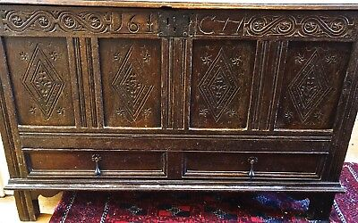 17th  CENT.  ENGLISH  OAK  COFFER  /  MULE CHEST