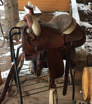 """One Owner Hereford Brand 13"""" Youth Roping/Ranch Saddle"""