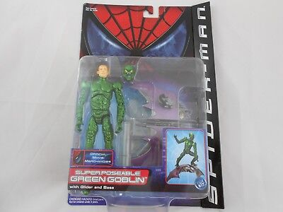 New Super Poseable Green Goblin Figure Toy Biz 2001 Figur Spider-Man Sealed Neu