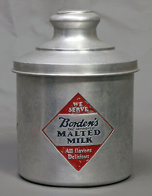 "Vintage Borden's ""The Improved"" Malted Milk Soda Fountain Container - Aluminum"