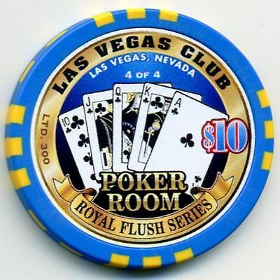 $10 Las Vegas Club Clubs Royal Flush Casino chip
