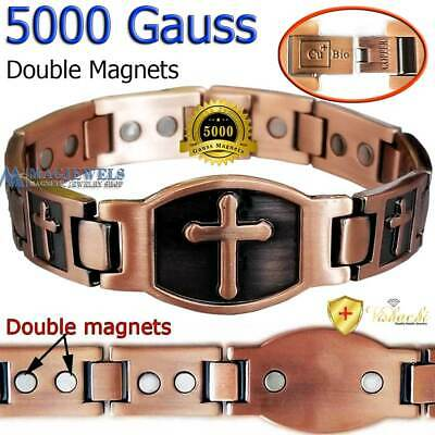 Pure Solid Copper Jesus Cross Magnetic Bracelet Men Women Arthritis Vtg Pc03V