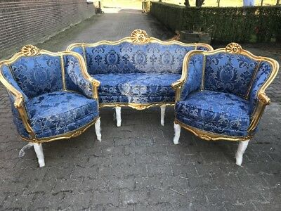 Antique Louis Xvi French Living Room Set: Sofa/settee + 2 Chairs