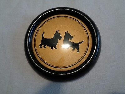 unusual vintage round framed  2 scotties silhouette against gold background NICE