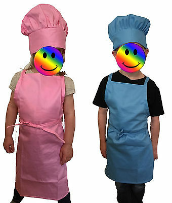 SET of 10x CHILDREN'S APRON & HAT. Painting Cooking Kids Club, School. Job Lot