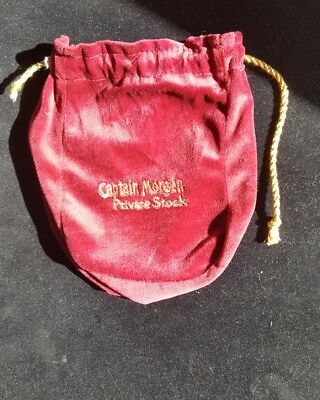 "Captain Morgan Liquor Private Stock Red Gold Suede Drawstring 9"" Pouch Bag NEW"
