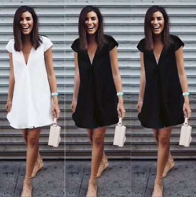 Frauen Sommer Minikleid Kurzarm Casual Abend Party Cocktail Mode