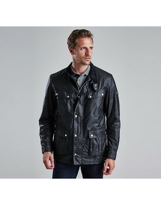 Barbour Men's Duke Regular Fit Waterproof Waxed Cotton Jacket in Black L